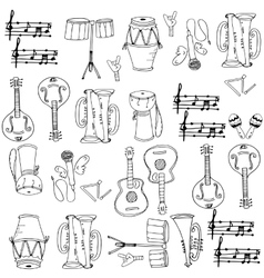 Musical instrument pack doodles vector