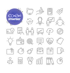 outline icon set pictogram set strategy vector image vector image