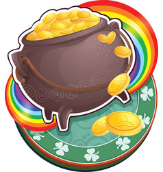 pot of gold on saint patrick day vector image vector image