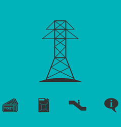 Power line icon flat vector