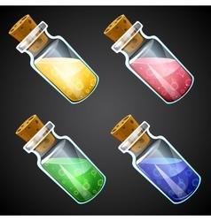 Set of cartoon potion bottle vector image