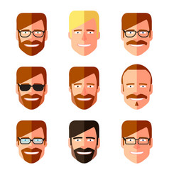 set of men s faces with different haircuts vector image vector image