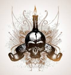 skull scroll and candle vector image vector image