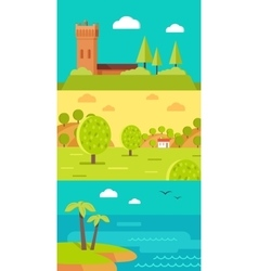 Summer vacation touristic landscapes set vector