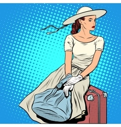 The girl passenger luggage vector