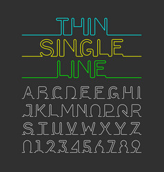 thin single line font one continuous line modern vector image vector image