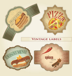 vintage food labels set - vector image vector image
