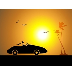 Woman driving car sunset vector image
