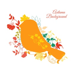 Autumn Background - Bird and Autumn Leaves vector image