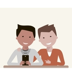 Men friends watching in smartphone vector