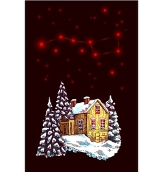 christmas night landscape vector image