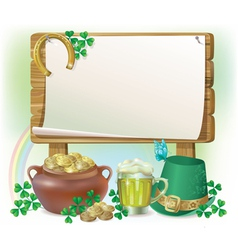 St patricks day wooden board vector