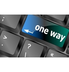 One way button on computer keyboard pc key vector