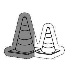 Cones caution sign icon vector