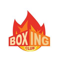 boxing club emblem logo for gym sport sign vector image