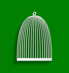 Bird cage sign paper whitish icon with vector