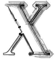 Technical typography letter x vector