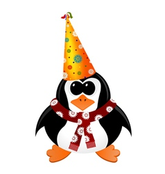 Cartoon penguin with party hat and scarf vector