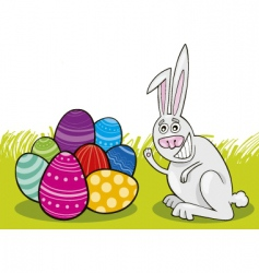 Easter bunny with painted eggs vector