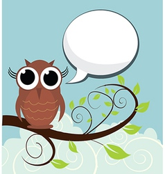 Bird on branch with speech bubble vector image