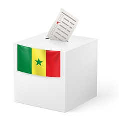 Ballot box with voting paper senegal vector