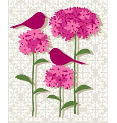 Pink botanical with birds vector