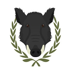 Hunting trophywild boar head in laurel wreath no vector