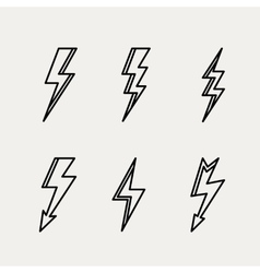 Lightning icon minimal linear contour outline vector