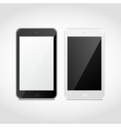 Realistic black and white smart phones vector