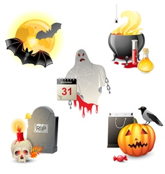 5 halloween icons vector image vector image