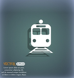 Train icon symbol on the blue-green abstract vector