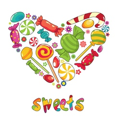 Sweets heart shape vector