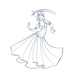 Belly dancer figure gesture sketch line drawing vector