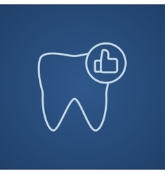 Healthy tooth line icon vector
