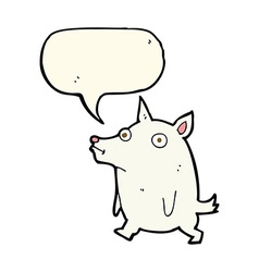 Cartoon funny little dog with speech bubble vector