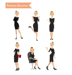 Business woman different poses vector
