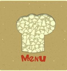 Vintage Menu Card Designs with chefs hat vector image