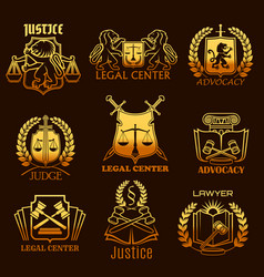 Advocacy lawyer gold icons of legal justice vector