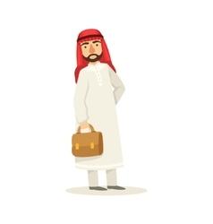 Arabic muslim businessman dressed in traditional vector