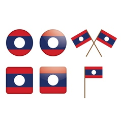 badges with flag of Laos vector image