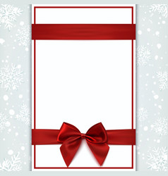 Blank greeting card with red ribbon and bow vector