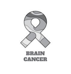 Brain cancer awareness papercut ribbon vector