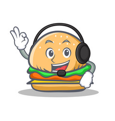 Burger character fast food with headphone vector