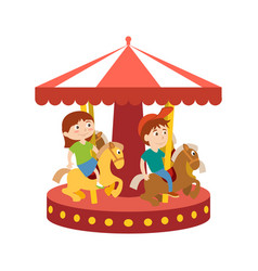 children have fun in park and ride on carousel vector image