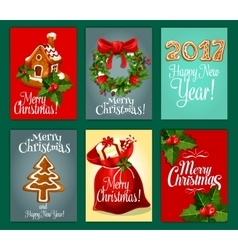 Christmas gifts greeting card set for xmas design vector