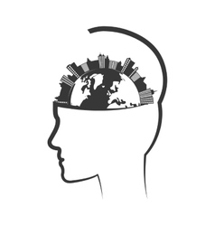 City planet head silhouette urban building towers vector