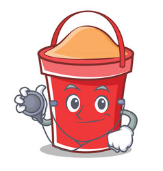 doctor bucket character cartoon style vector image vector image