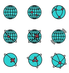 Earth Global Communication icons set vector image vector image