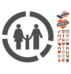 Family diagram icon with love bonus vector