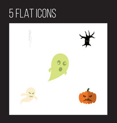 flat icon festival set of phantom ghost pumpkin vector image vector image